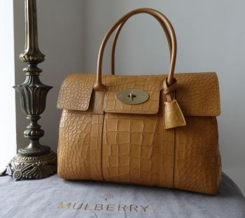 Mulberry Classic Heritage Bayswater in Camel Deep Croc Embossed Calfskin (Substandard)