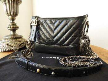 Chanel Gabrielle Small Hobo in Chevron Quilted Black Aged Calfskin