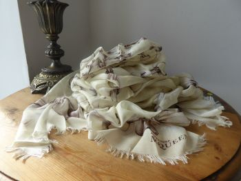 Alexander McQueen Big Skull Ribbon Eyelet Scarf Wrap in Vanilla Cream Silk Modal Mix - New