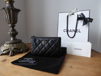 Chanel So Black Zip Purse Mini O Case in Black Aged Quilted Calfskin