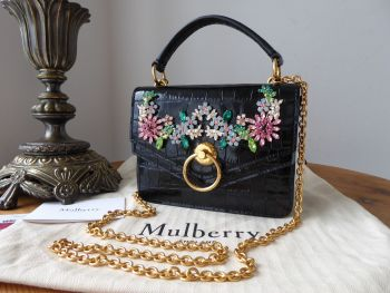 Mulberry Small Harlow Satchel in Black Shiny Croc with Flower Crystals - New