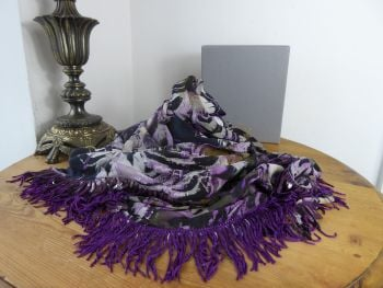 Mulberry Feathered Friends Triangular Large Shawl Scarf Wrap in Eggplant Purple Silk & Sequin