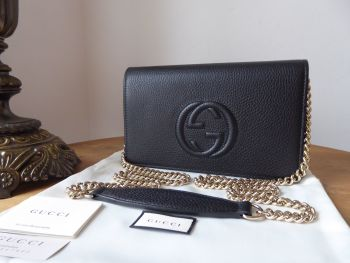 Gucci Soho Wallet on Chain Shoulder Bag in Black Pebbled Calfskin - As New