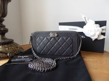 Chanel Boy Twin Zipped Pochette Clutch with Chain in Pewter Grey Caviar Leather with Ruthenium Hardware - As New
