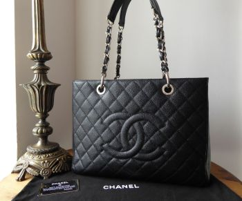 Chanel Classic Grand Shopping Tote GST in Black Caviar with Silver Hardware