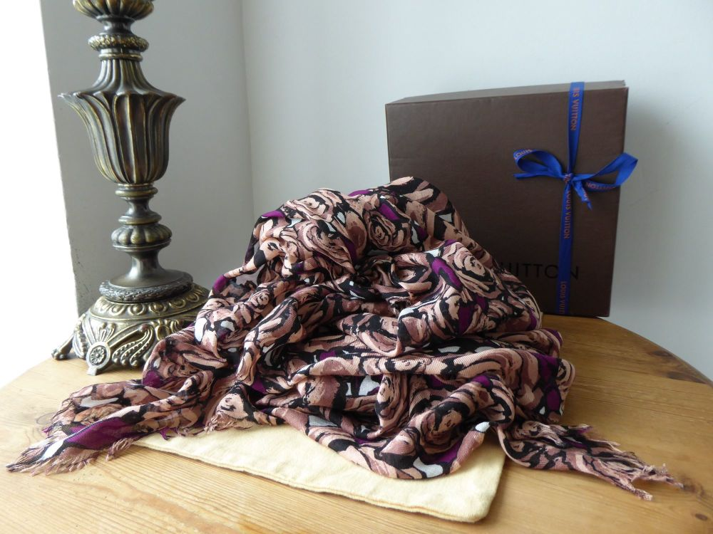 Louis Vuitton Rock 'n 'Roses Shawl Stole Shawl Large Wrap Scarf in Terracot