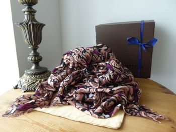 Louis Vuitton Rock 'n 'Roses Shawl Stole Shawl Large Wrap Scarf in Terracotta Modal & Silk