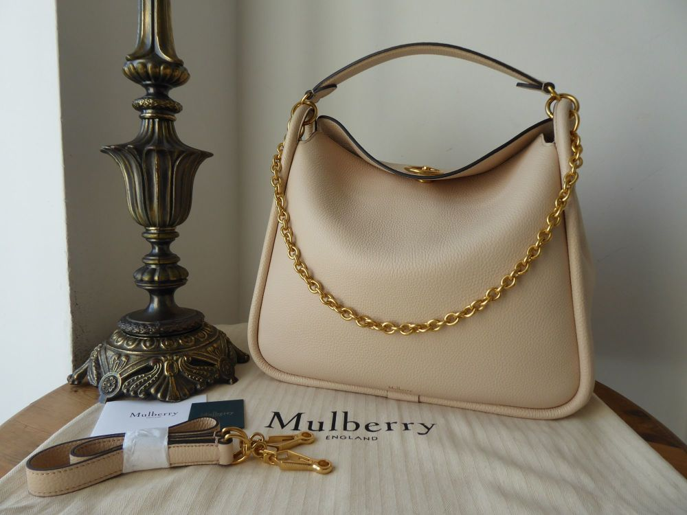Mulberry Leighton Hobo in Linen Beige Small Classic Grain Leather New