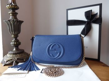 Gucci Soho Disco Shoulder Crossbody Flap Bag in Caspian Blue Pebbled Leather - New*