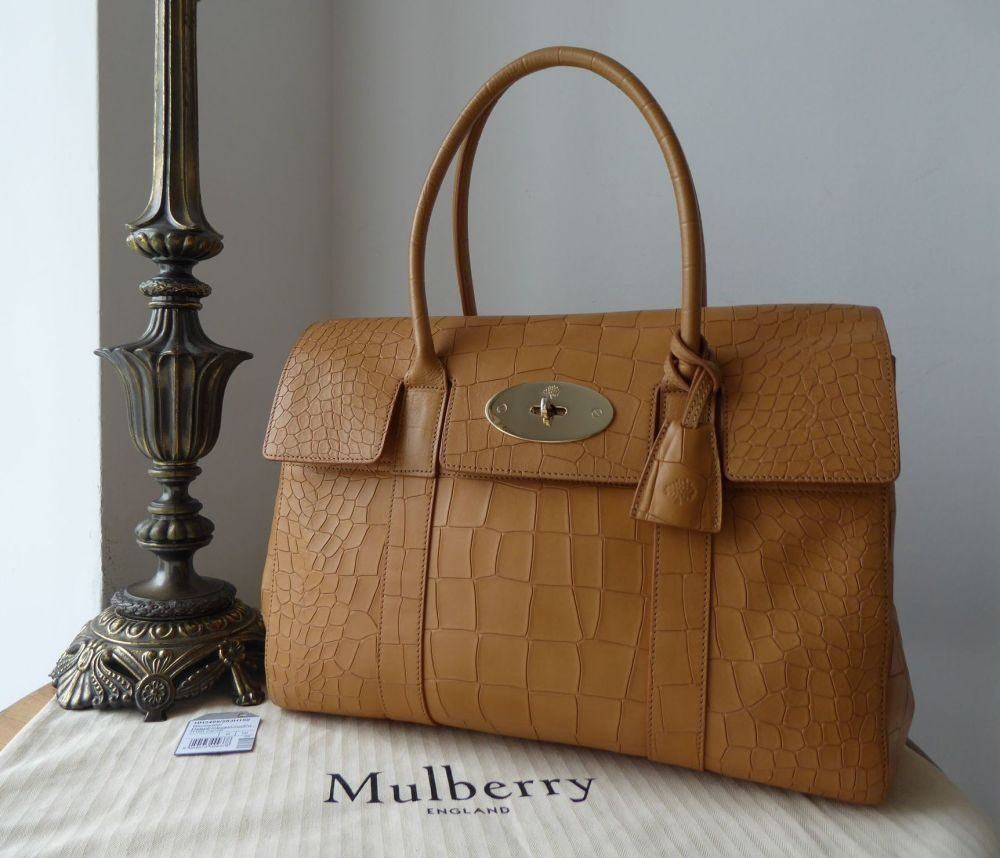 Mulberry Classic Heritage Bayswater in Camel Deep Croc Embossed Calfskin (S