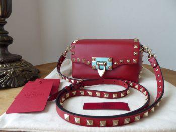 Valentino Mini Rockstud Flap Crossbody in Dark Red Vitello Elite Calfskin - New