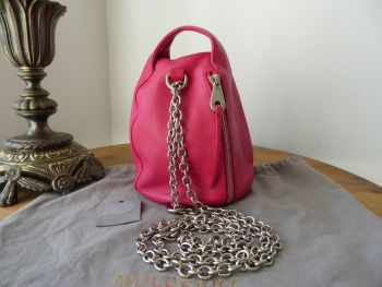 Mulberry Georgia May Jagger Biker Pouch Bag in Ruby Magenta Soft Polished Buffalo