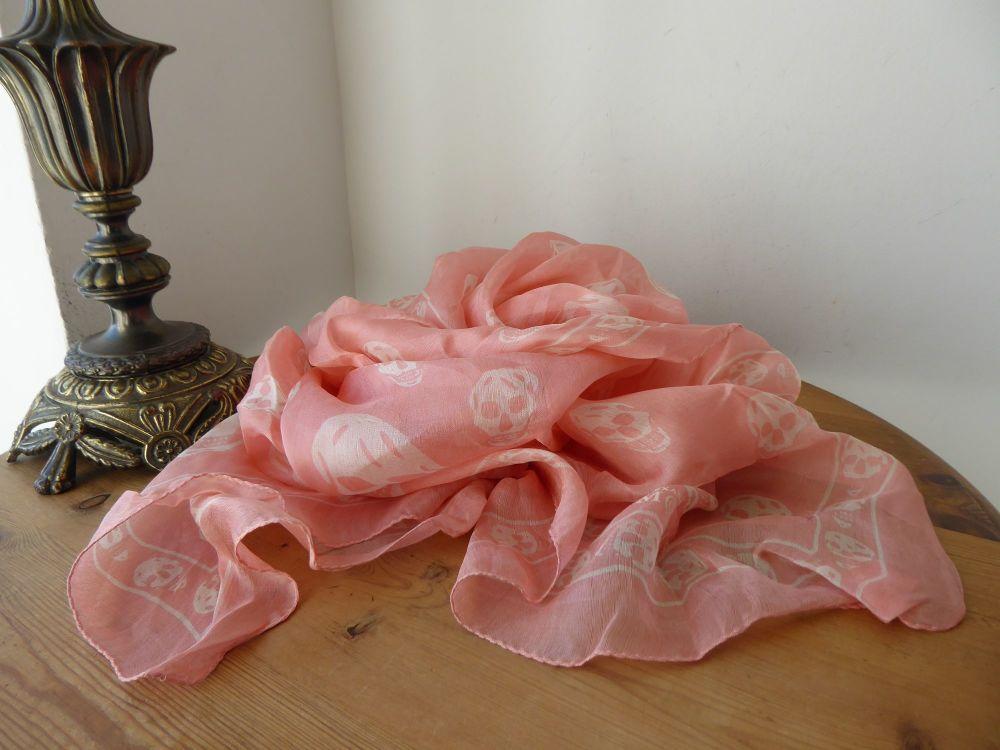 Alexander McQueen Skull Scarf in Crevette Pink 100% Silk Chiffon
