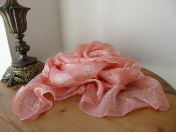 Alexander McQueen Classic Skull Scarf in Crevette Pink 100% Silk Chiffon - New*