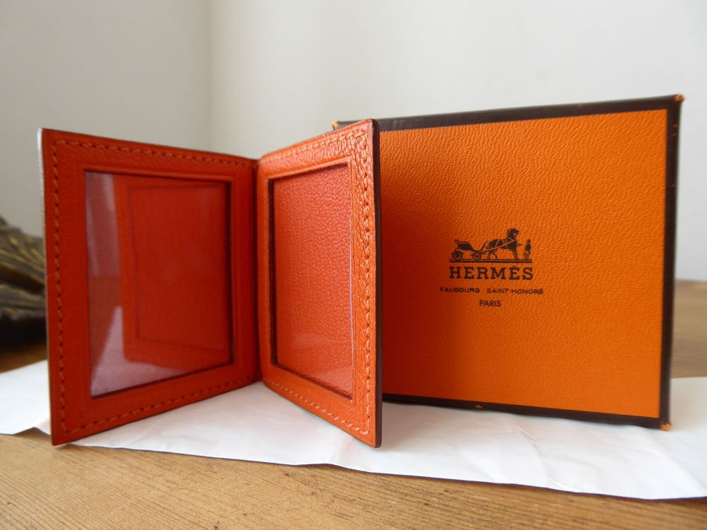 Hermés Petit H Mini Duo Folding Photo Frame in Chevre Orange