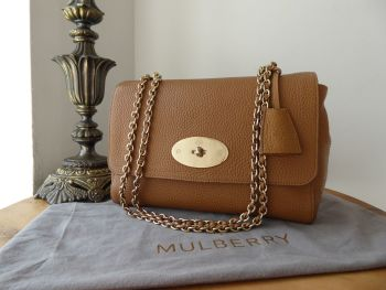 Mulberry Medium Lily in Deer Brown Soft Grain Leather with Shiny Pale Gold Hardware