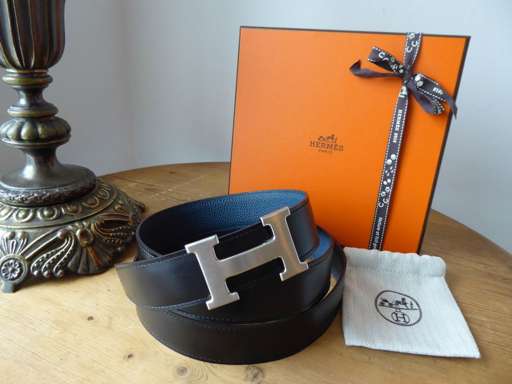 Hermès' Constance Belt 32cm Brushed Palladium Buckle & Reversible Noir 135