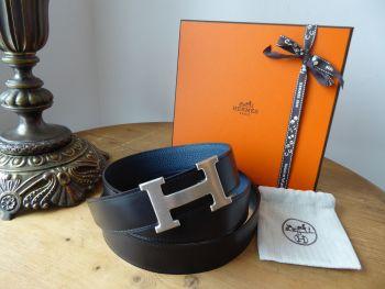 Hermès Constance Belt 32cm Brushed Palladium Buckle & Reversible Noir 135 & Bleu De Prusse Togo Calfskin