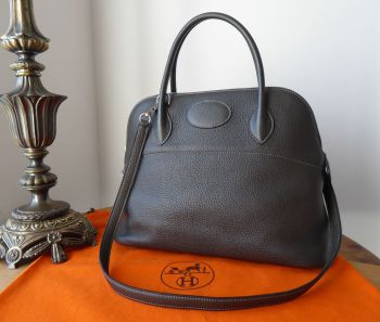 Hermés Bolide 31 in Graphite Clemence Leather with Palladium Silver Hardware