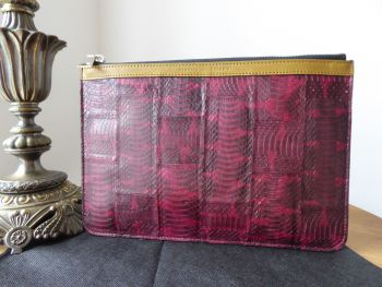Proenza Schouler Slim Zip Pouch Clutch in Bordeaux Python with Shiny Silver Hardware