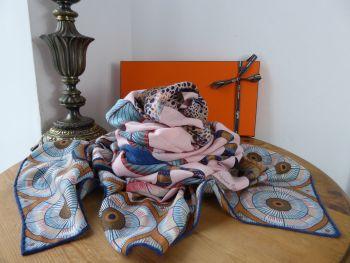 Hermés 'Savana Dance' Chale Shawl Carré 140cm Scarf in Rose, Pale Bleu, Marron Cashmere Silk
