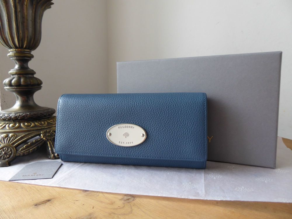 Mulberry Plaque Continental Flap Wallet Purse in Steel Blue Small Classic G