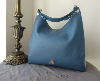 Mulberry Large Freya Hobo in Steel Blue Goat Printed Calf Leather