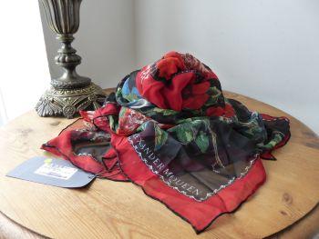 Alexander McQueen Dark Floral Frames Square Scarf Wrap in 100% Silk Chiffon - New*