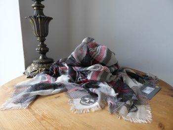 Alexander McQueen Tartan & Lace Skull Print Large Square Scarf in Modal Silk Mix - New