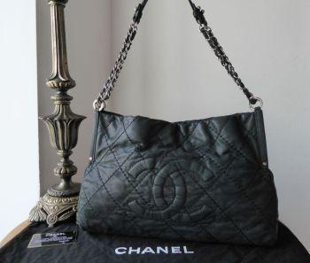 Chanel Shoulder Tote in Iridescent Black Velvet Calfskin with Shiny Silver Hardware