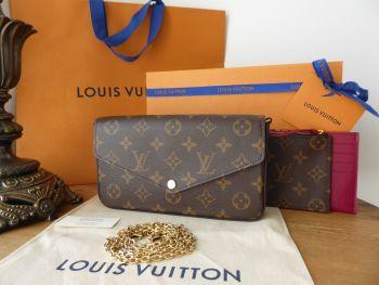 Louis Vuitton Félicie Chain Wallet in Monogram Fuchsia - As New