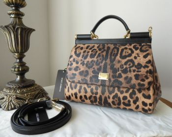 Dolce & Gabbana Sicily in Vitello Stampa Dauphine Leopard Printed Leather - New*