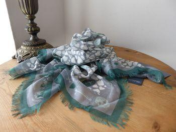 Alexander McQueen Dagger Hearts Skull Scarf in Grey, Spearmint & Forest Green Silk Modal Mix - New