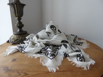 Alexander McQueen Fringed Skull Skull Scarf Wrap in Ivory & Black Silk Modal Mix - New