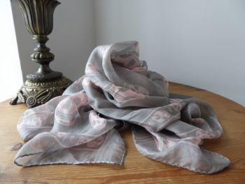 Alexander McQueen Skull Scarf Wrap in Pewter Silver & Baby Pink 100% Silk Chiffon - New