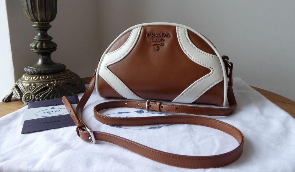 Prada Bowling Shoulder Bag in Cognac Bianco Soft Calf Leather New