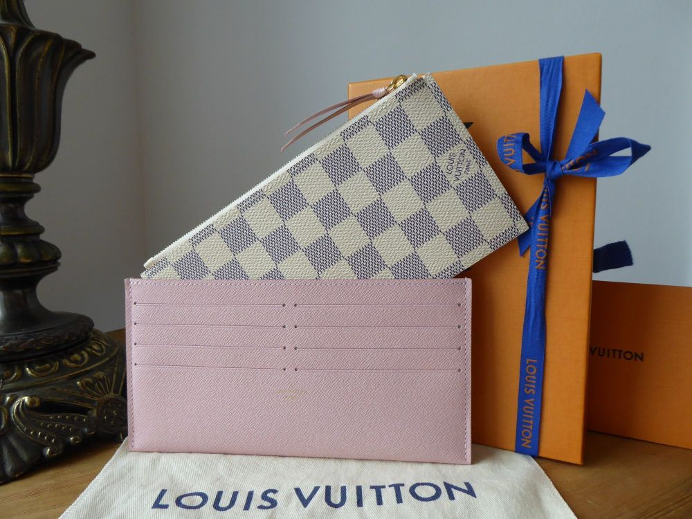 Louis Vuitton Félicie Two Insert Pouches in Damier Azur Rose Ballerine New