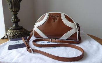 Prada Small Bowling Bag in Cognac Bianco Soft Calf Leather - New*