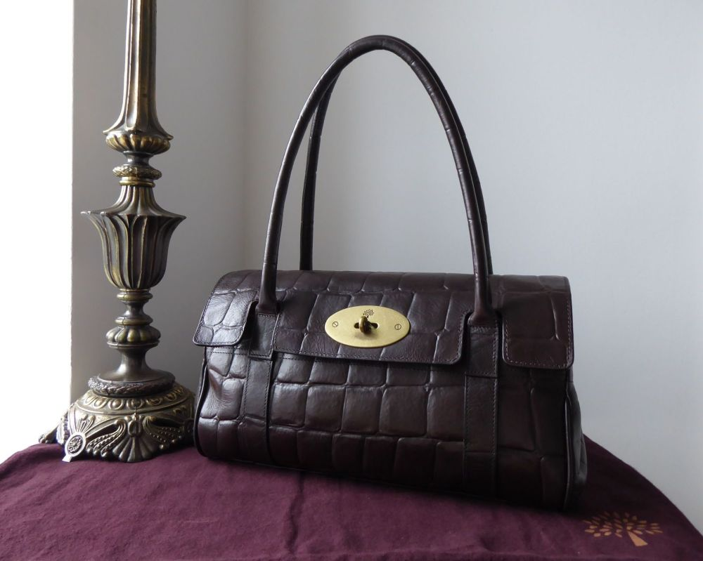 Mulberry Classic East West Bayswater in Chocolate Printed Natural Leather