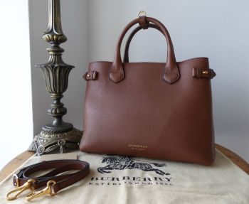 Burberry Medium Derby House Check Banner Tote in Tan Calfskin