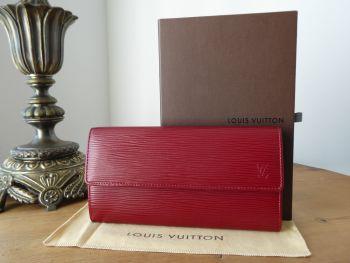 Louis Vuitton Sarah Continental Flap Wallet in Epi Carmine Red