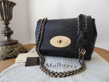 Mulberry Lily in Ink Blue Silky Snake Shine Printed Calfskin
