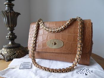 Mulberry Medium Top Handle Lily Cecily in Biscuit Brown Soft Croc Print Calfskin
