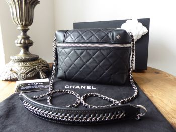 Chanel Small Quilted Camera Messenger Bag in Black Calfskin
