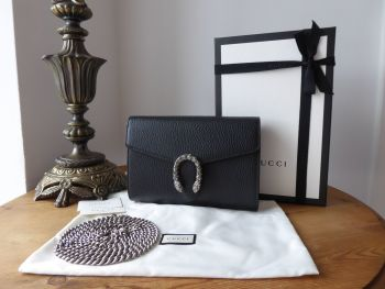 Gucci Dionysus Wallet on Chain in Black Calfskin with Antiqued Silver Hardware and Swarovski Crystals