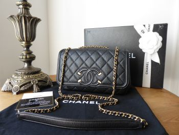 Chanel CC Filigree Small Flap Bag in Black Caviar with Brushed Gold Hardware
