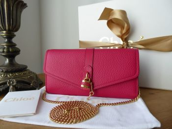 Chloé Aby Wallet on Chain in Crimson Pink Calfskin - New