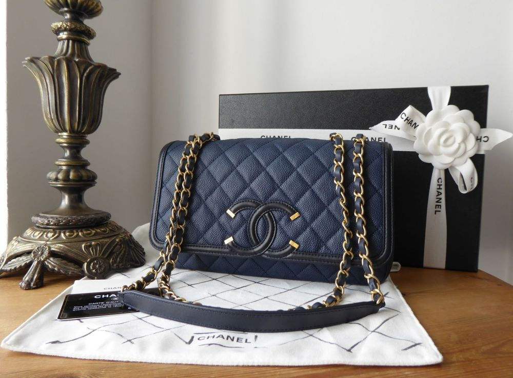 Chanel CC Filigree Medium Flap Bag in Navy Blue Caviar with Antiqued Gold H