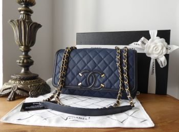 Chanel CC Filigree Medium Flap Bag in Navy Blue Caviar with Antiqued Gold Hardware
