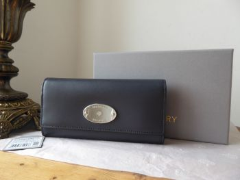 Mulberry Plaque Continental Wallet Purse in Midnight Double Backed Calf - New